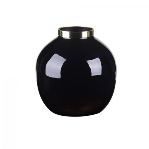 Vase Saigon mit Metallring, bauchig, schwarz/gold 13x14x13cm