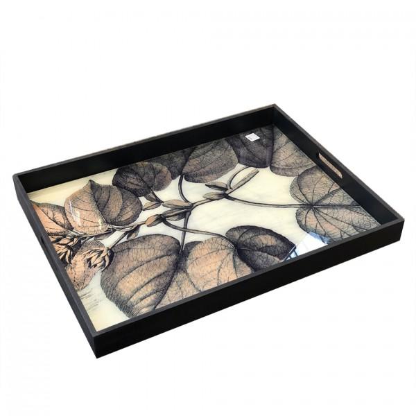 rechteckiges Holz-Tablett KAILUA shwarz, weißer Untergr., Blätter HBT:5,5/45,5/61cm