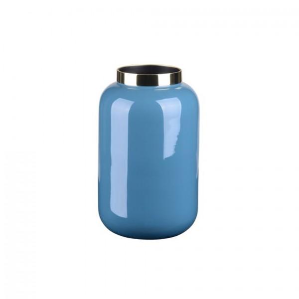 Vase Saigon mit Metallring, XS, steel blue/gold 8x14x8cm