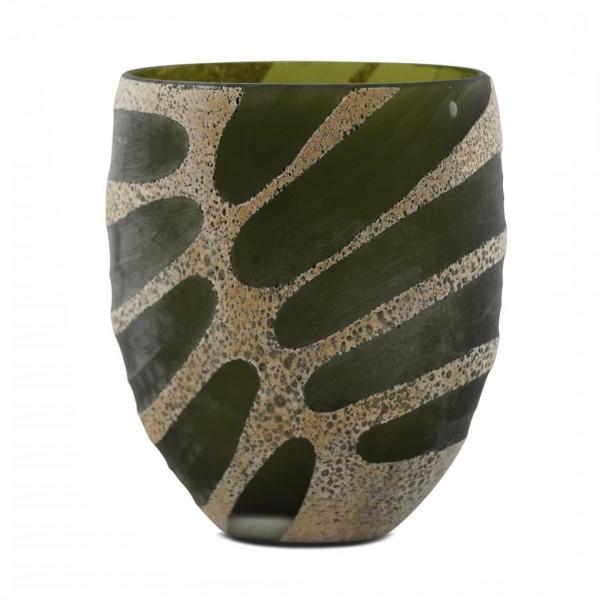 Glas-Vase GRAVE, grün mit Einkerbungen, 25x22x14cm HxBxT