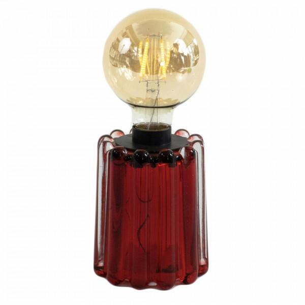 Glas-Teelicht LYNN, rot mit Streifenstruktur, inkl. Glühbirne, ohne Batterien