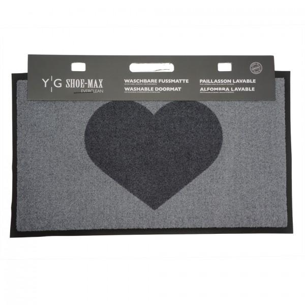 Fussmatte Gummi Velours Heart Graphite 45x75cm