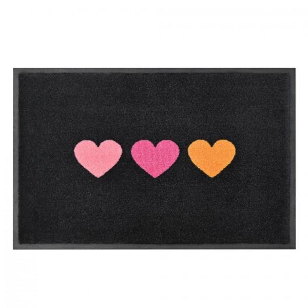 Fußmatte Washables Herzen schwarz 50x75cm