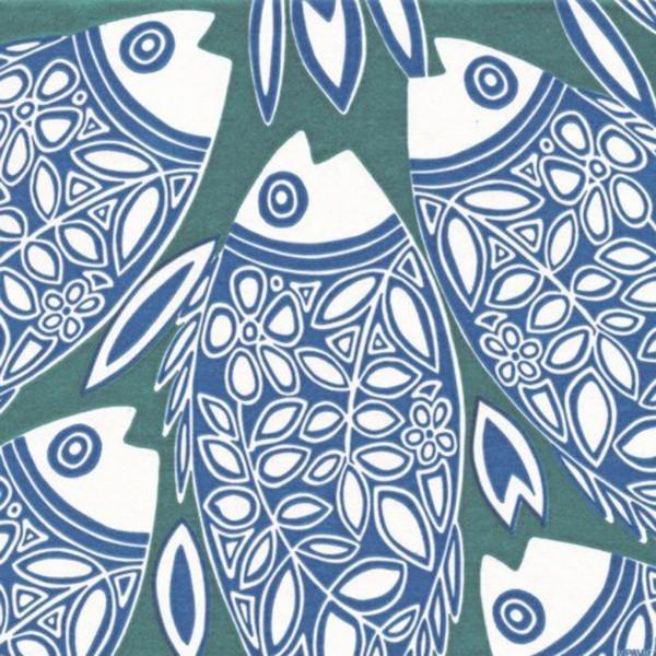 Servietten 40x40cm Poisson blue