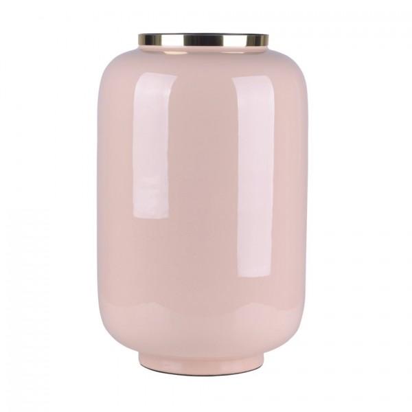 Vase Saigon mit Metallring, L, blush/gold 23x40x23,5cm