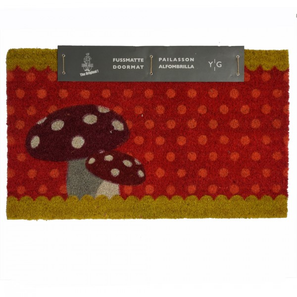 Shoe-Max Kokos-Fussmatte, Pilze Rot 44x74cm