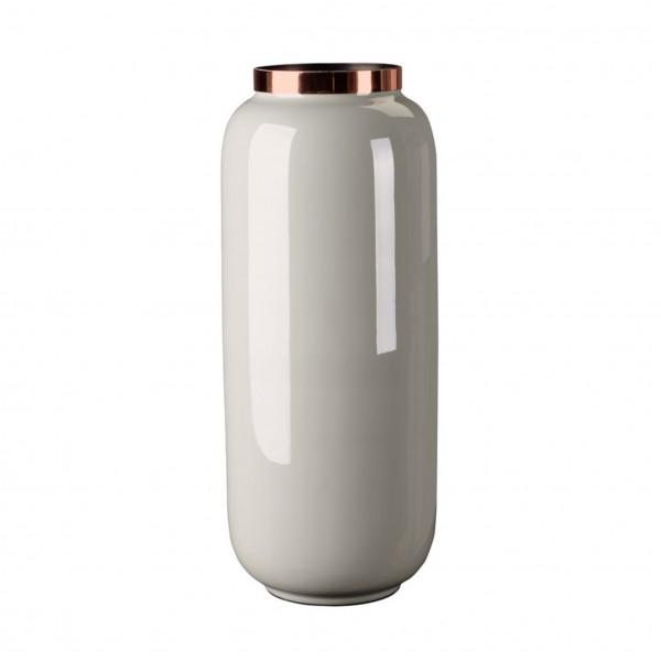 Vase Saigon mit Metallring, M, hellgrau/Kupfer, 14x30x14cm