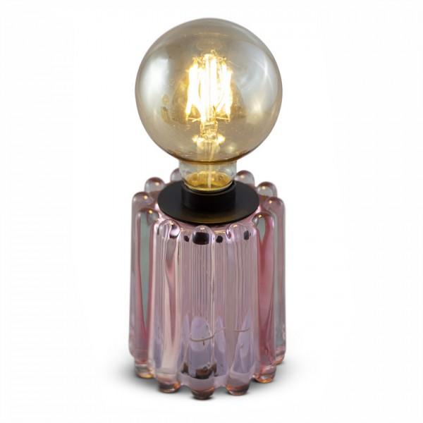 rundes Glas-Teelicht LYNN, pink mit Streifenstruktur, inkl. Glühbirne, ohne Batterien