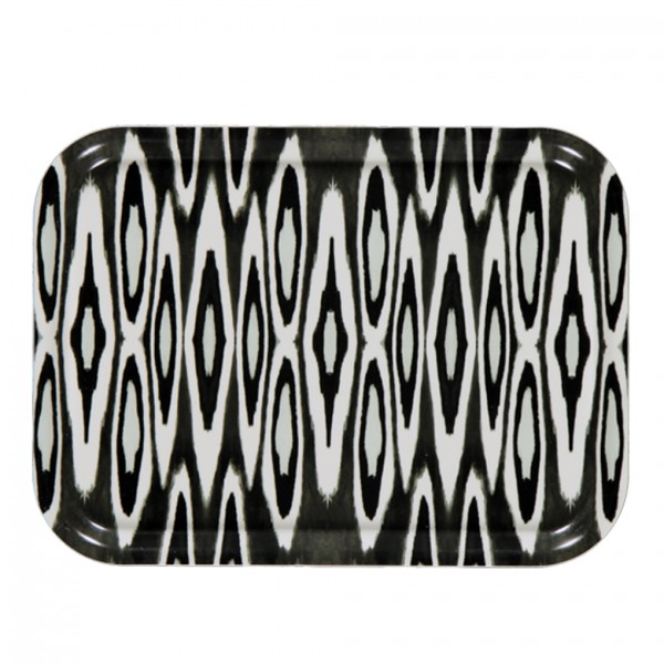 Tablett Coco Ikat Long Black 27x20cm