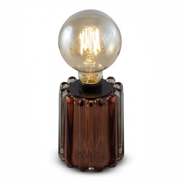 rundes Glas-Teelicht LYNN, braun mit Streifenstruktur, inkl. Glühbirne, ohne Batterien