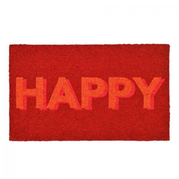 Fußmatte Kokos Happy, Neonrot, 45x75cm