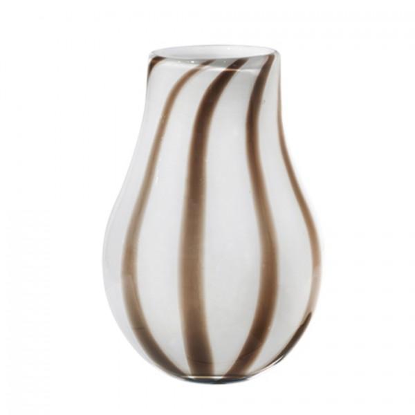 Vase Ada Stripe, mundgeblasen, H22cm D15cm, Taupe / Warm Grey