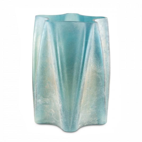 Glas-Vase Wrink türkis, mit falten, gesandeter Oberfläche Ø24cm, H:32,5cm