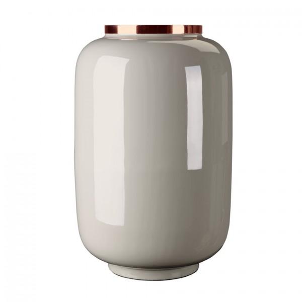 Vase Saigon mit Metallring, L, hellgrau/kupfer 23x40x23,5cm