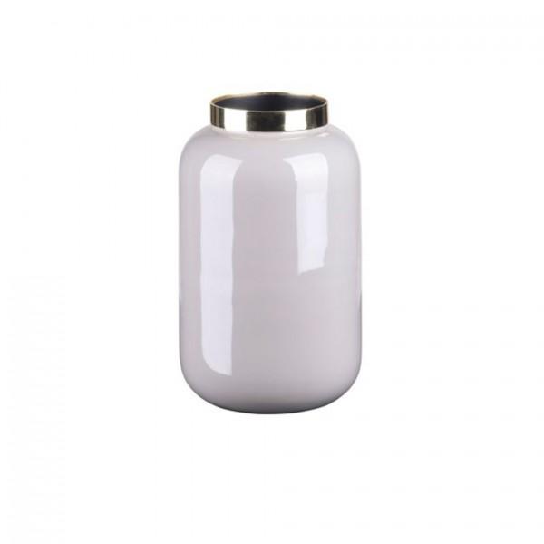 Vase Saigon mit Metallring, XS, cool grey/gold 8x14x8cm