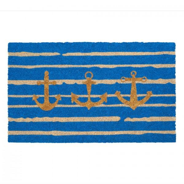 Fußmatte Kokos, Anker, Streifen, blau, 45x75cm