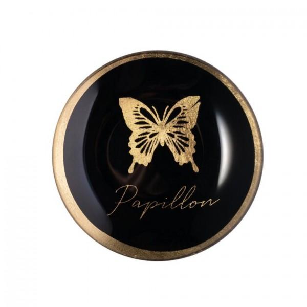 Glasteller Love Plates S Papillon rund schwarz