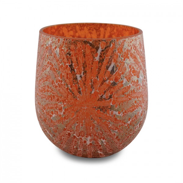 Glas-Vase EXCAVA orange mit Strahlen-Muster H 20 cm x D 22 cm