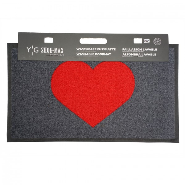 Fussmatte Gummi Velours Heart Grimson 45x75cm