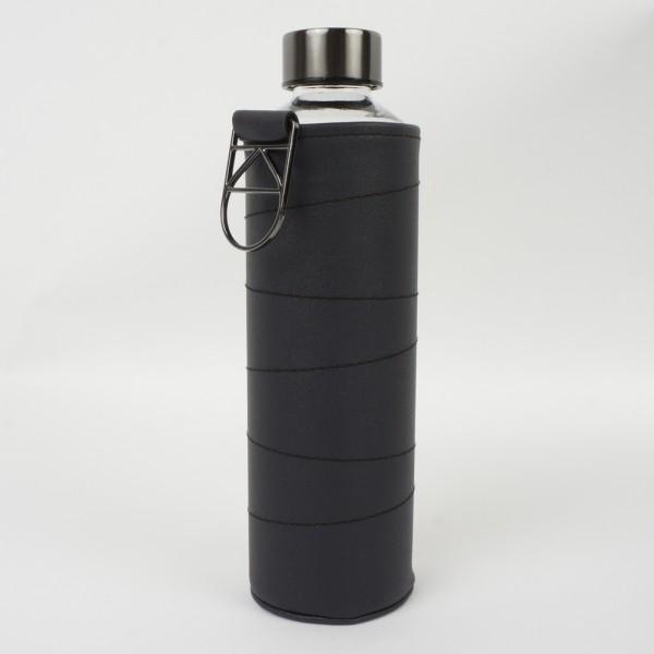 Glasflasche Mismatch mit Kunstlederhülle Graphite