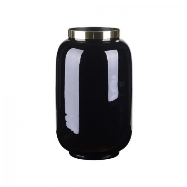 Vase Saigon mit Metallring, S, dahlia schwarz/gold 14x20x14cm