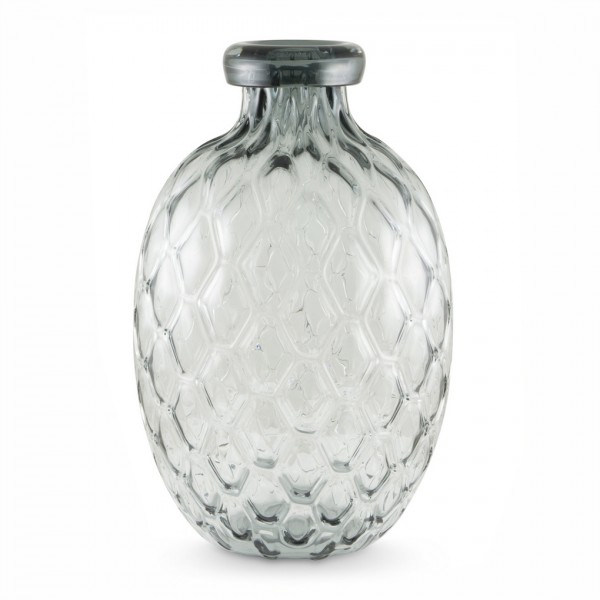 Glas-Vase COMBS bauchig, grau groß Ø26 cm x H 42,5 cm