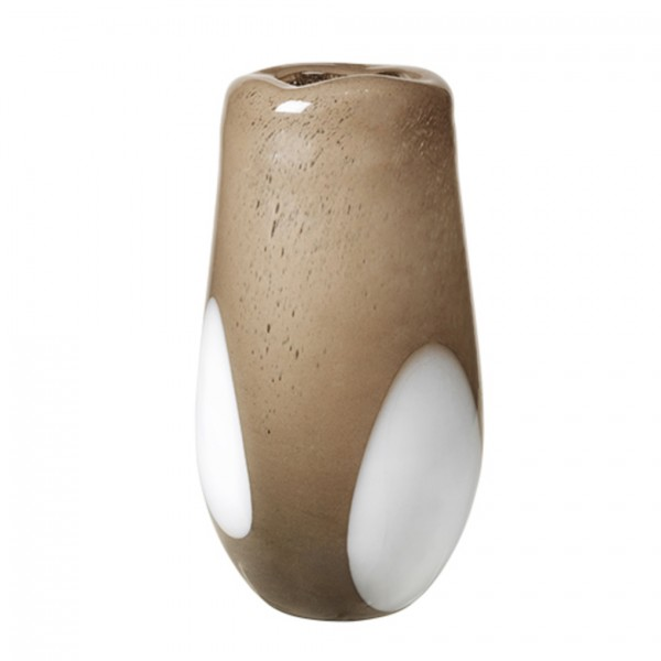 Vase Ada Dot, mundgeblasen, H37cm D19,5cm, warmes grau