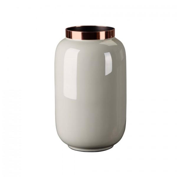 Vase Saigon mit Metallring, S, hellgrau/kupfer 14x20x14cm