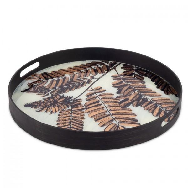 rundes Holz-Tablett KAILUA shwarz, weißer Untergr., Blätter H:5,5cm ø49cm