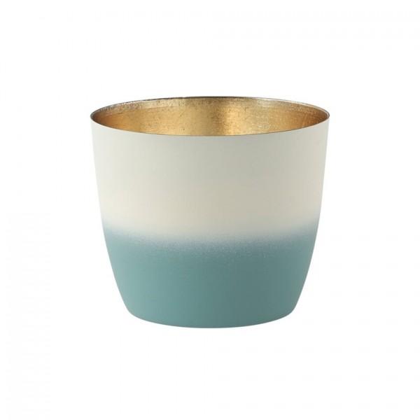 Madras Windlicht M Farbverlauf powder blue/weiß