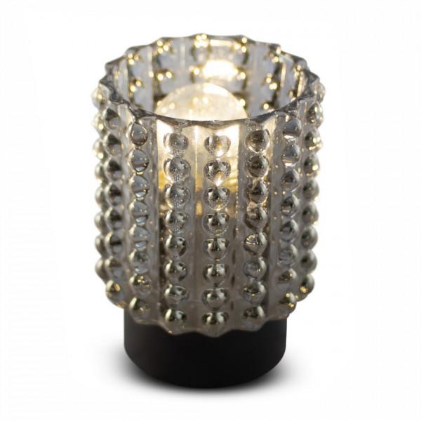 Glas-Teelicht LOUISA, grau mit Perlenreihen, inkl. Glühbirne, ohne Batterien