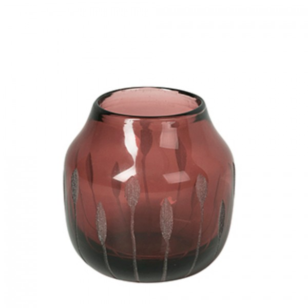 Vase Shape Mundgeblasen Plum Wine klein