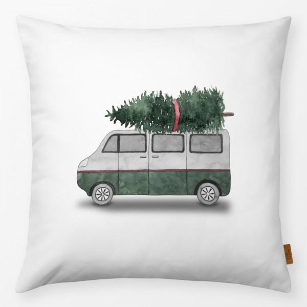 Kissenhülle Campingbus mit Weihnachtsbaum 40x40cm